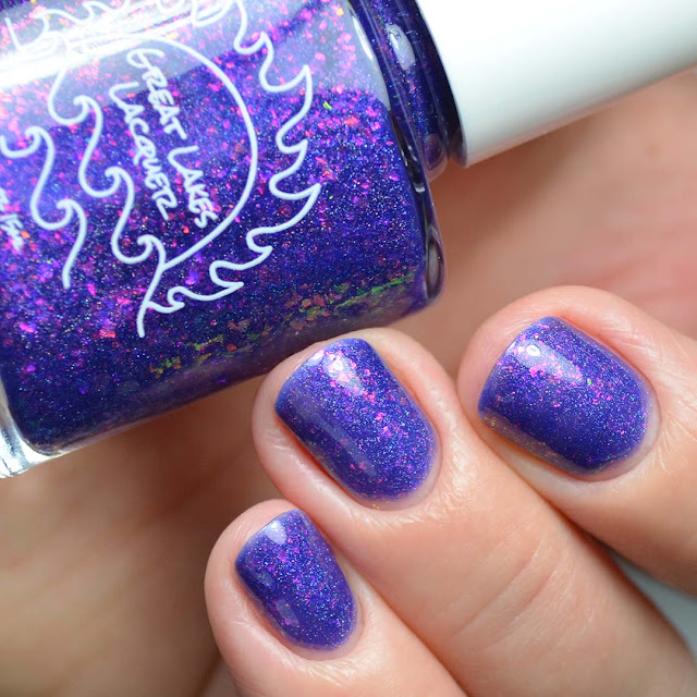 purple flakie nail polish swatch