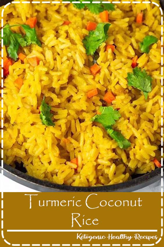 Enjoy this delicious and healthy Turmeric Coconut Rice for your next meal. Brown rice simmered in seasoned coconut milk with onion, garlic, and thyme.#coconutrice#rice#turmeric