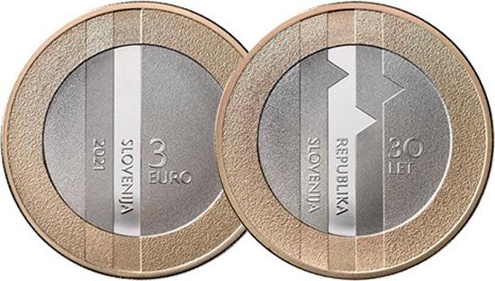 Slovenia 3 euro 2021 - 30th anniversary of the Republic of Slovenia