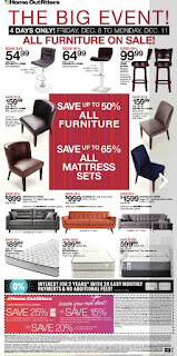 Home outfitters 4 days only All Furniture on sale Dec 8 - 11, 2017
