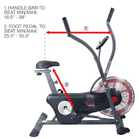"Sunny Health & Fitness SF-B2640 Air Bike's 4-way adjustable seat, inseam range 25.5"" and 35.5"""