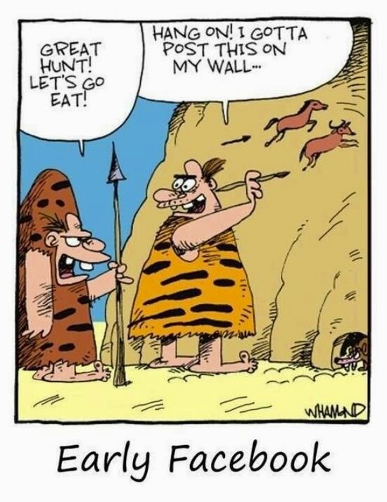Funny Cavemen Early Facebook Joke Cartoon