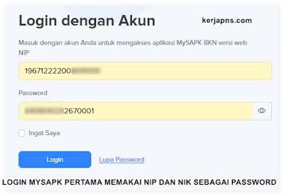 login MYSAPK memakai NIP dan NIK