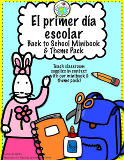 School Supplies in Spanish Theme Pack for Elementary Spanish for Kids