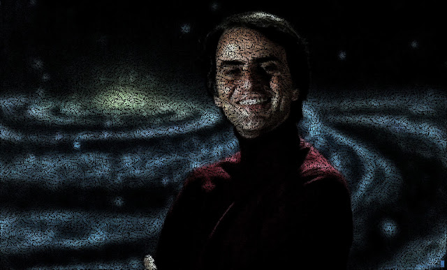 Carl Sagan text art portrait by Juan Osborne