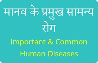 मानव के प्रमुख सामन्य रोग - Important & Common Human Diseases
