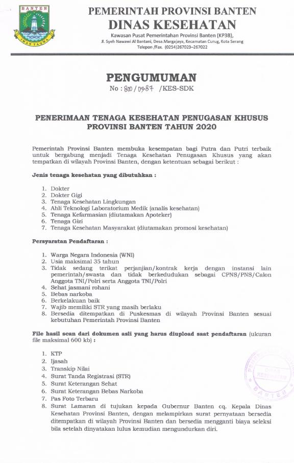 Rekrutmen Non PNS Tenaga Kesehatan Penugasan Khusus Pemprov Banten Februari 2020