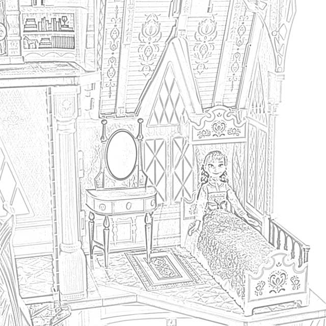 Antique Furniture Elsa Hair Down Coloring Page