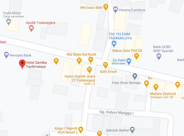 Map Letak Hotel Santika Tasikmalaya
