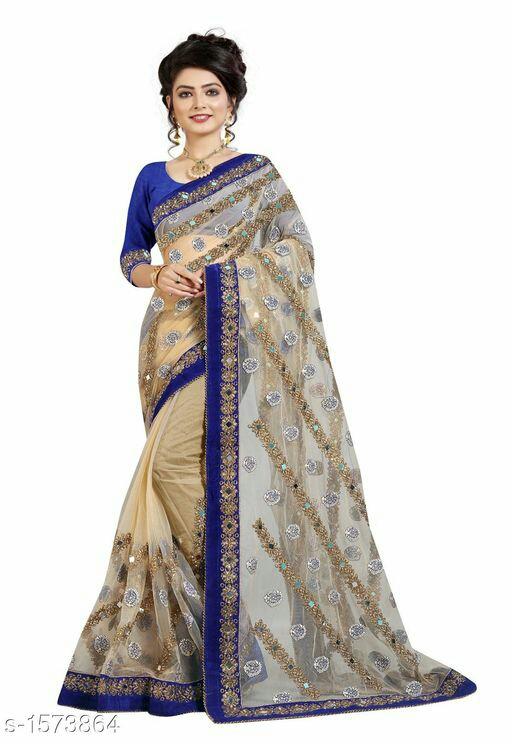 Designer Net Embroidery Saree