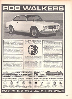 Rob Walkers, Huxhams Garage advert from Car August 1969