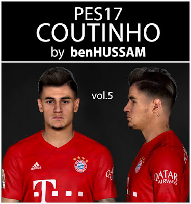 PES 17 Coutinho Face by benHUSSAM