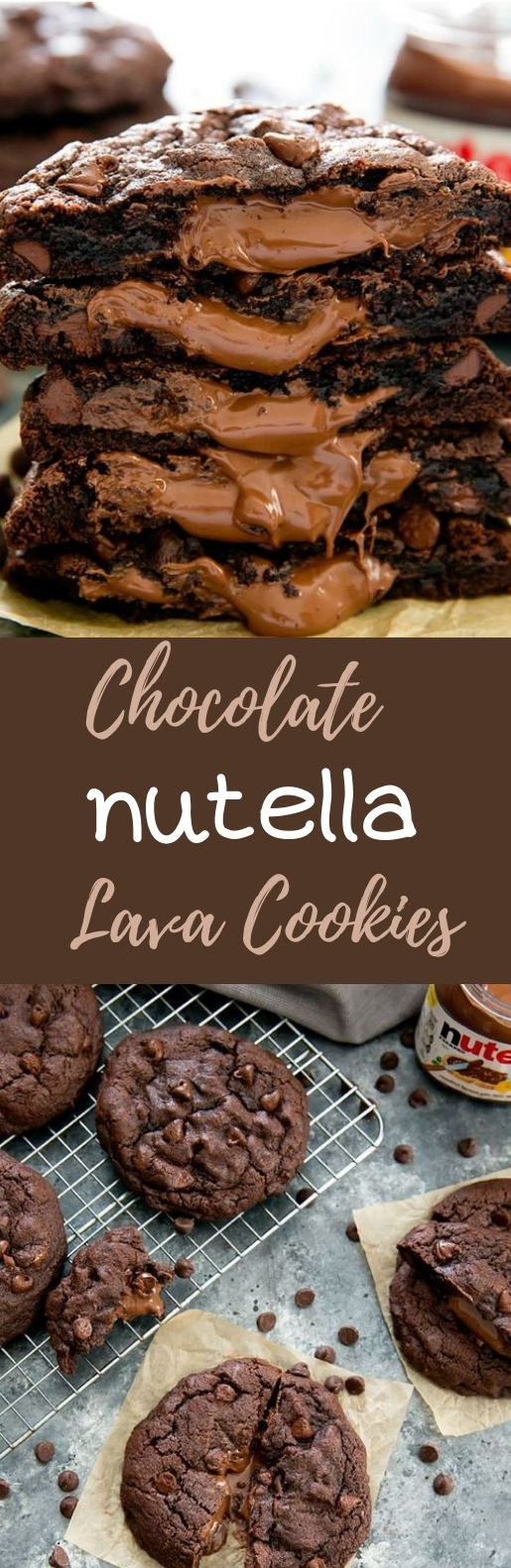Chocolate Nutella Lava Cookies #chocolate #cookies