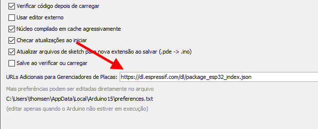 Tela das preferencias da IDE Arduino com a URL do ESP32