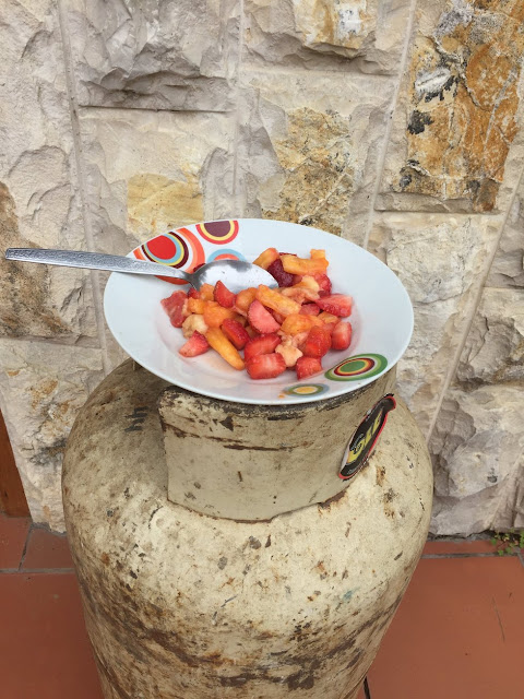 Fruit Snack on Gas Tank