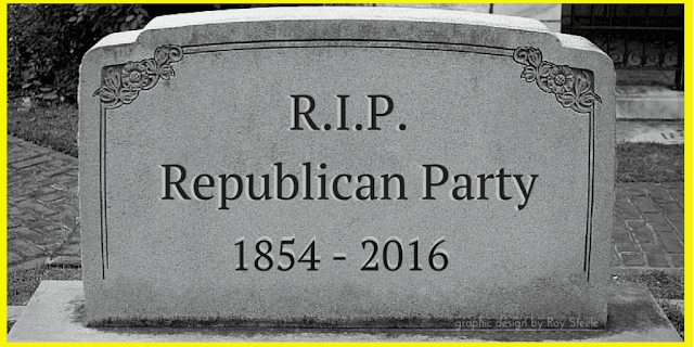 A gravestone that is etched with 'R.I.P. Republican Party 1854 - 2016'