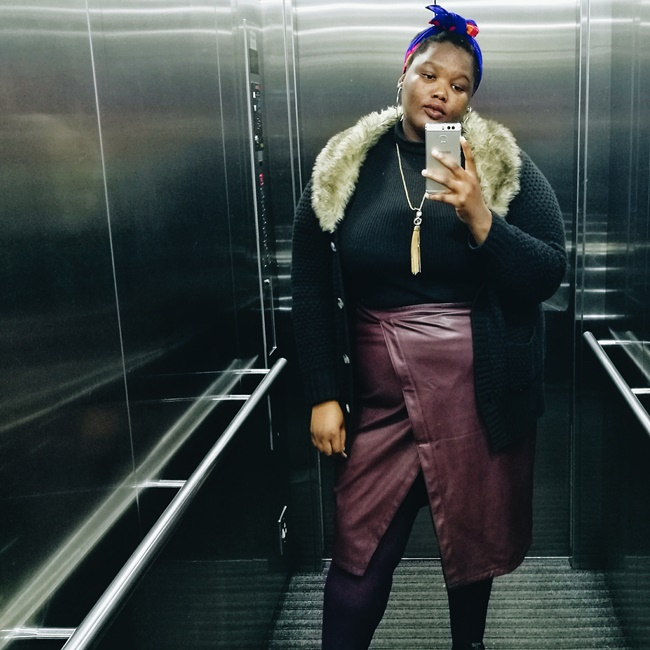 south african plus size blogger, luxe plus size look, how to style a plus size leather skirt for winter,