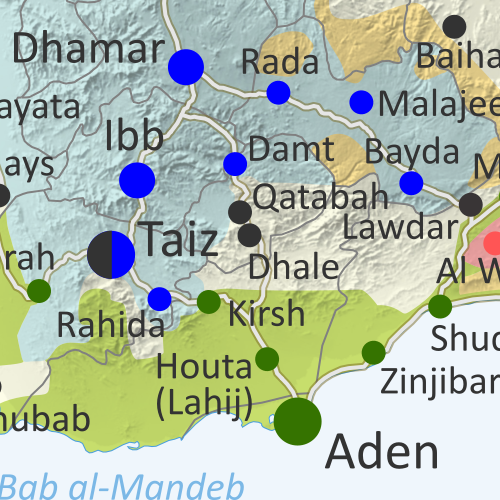 Map of what is happening in Yemen as of December 15, 2019, including territorial control for the unrecognized Houthi government, president-in-exile Hadi and his allies in the Saudi-led coalition, the UAE-backed southern separatist Southern Transitional Council (STC), and Al Qaeda in the Arabian Peninsula (AQAP). Includes recent locations of fighting and other events, including Ahwar, Baqim, Malahith, and more.