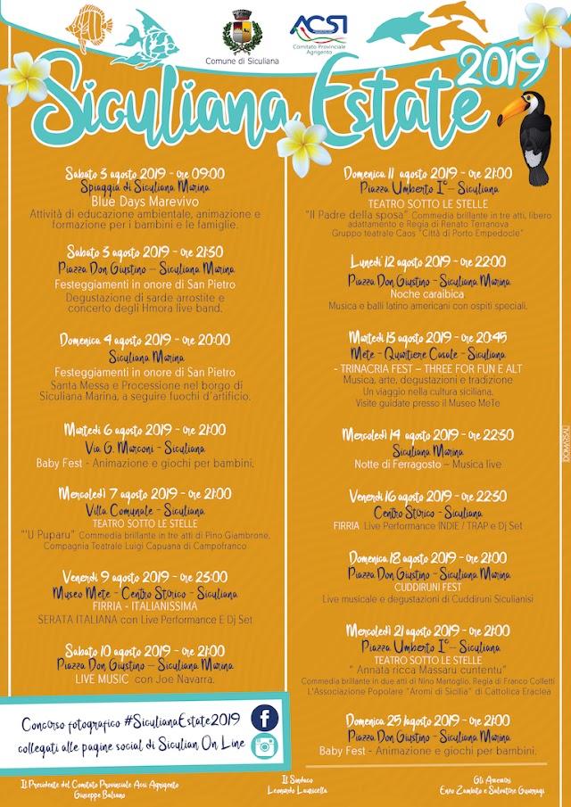 Dal 5 al 25 agosto 2019 - Siculiana Estate 2019: Il programma con tutti gli eventi