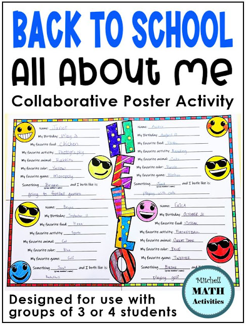 Back to school collaborative poster for upper elementary