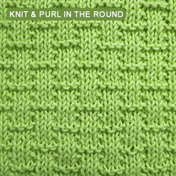 Knitting A Pattern In The Round : Basketweave - Pattern 4 - knitting in the round Knit - Purl stitches