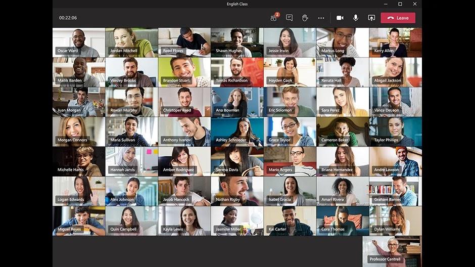 Microsoft Teams supporta fino a 49 utenti nella stessa schermata di videoconferenza