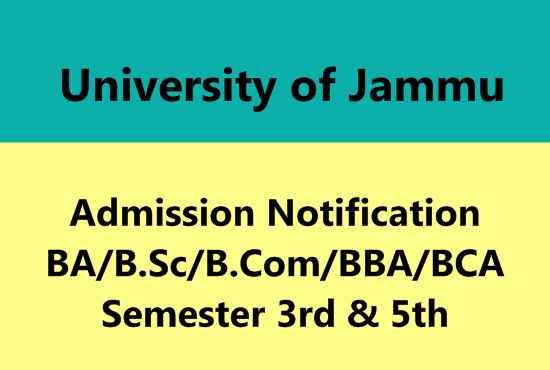 University of Jammu Admission Notification