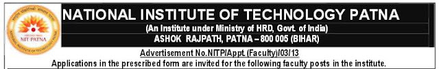 NIT Patna Faculty posts recruitment 2013