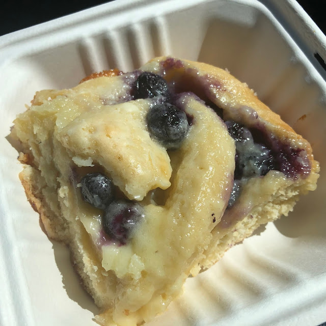 Made-from-scratch Blueberry Gooey Butter Cake from Beanik Cafe and Pastry.