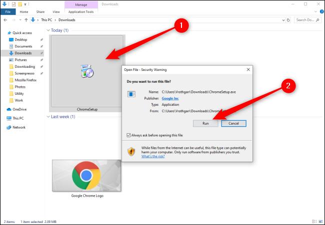 Windows 10 تثبيت Chrome