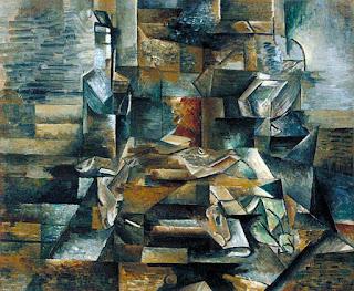 contoh karya aliran kubisme: bottle and fishes