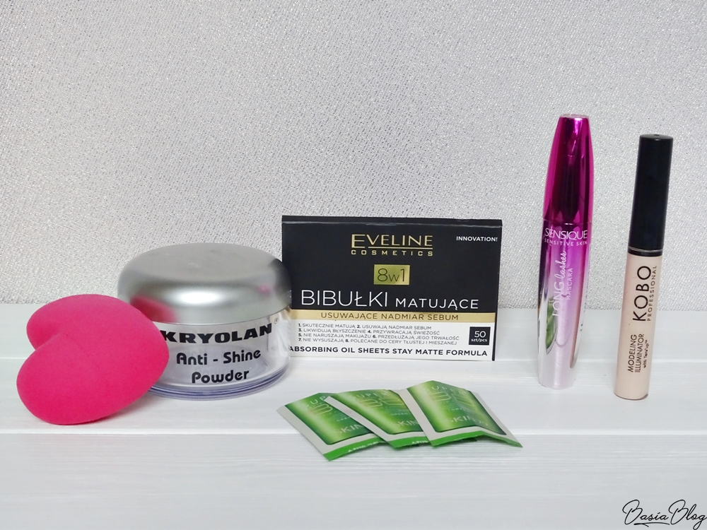 Kryolan Anti-Shine Powder, Sensique Long Lashes Mascara, Skin79 BB Cream Green, Kobo Modeling Illuminator, Loveblender, Eveline, bibułki matujące