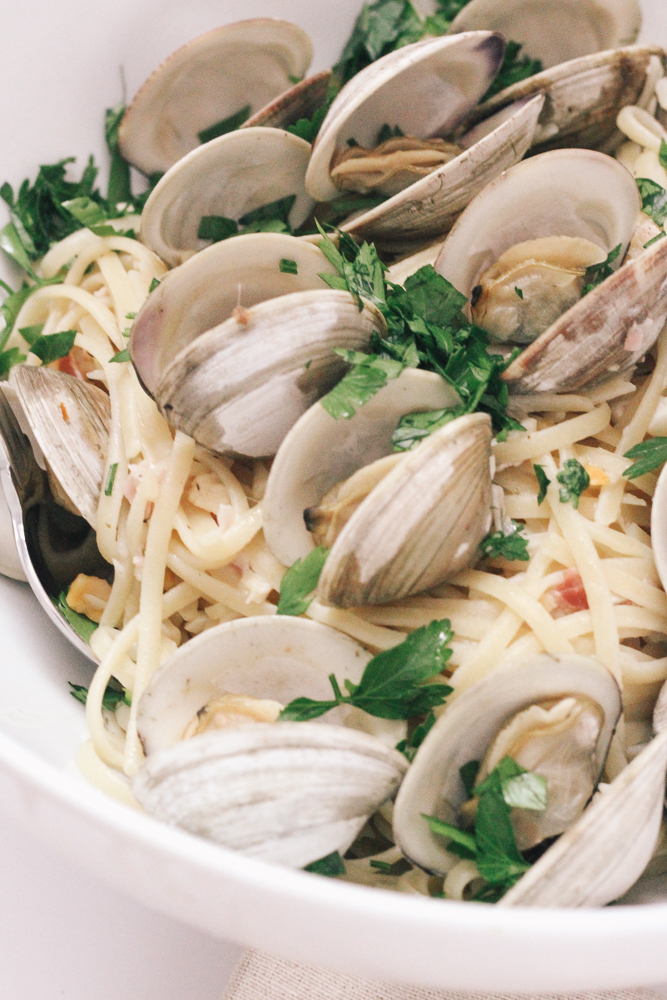 Boston Life and Style Blogger, The Northern Magnolia shares her favorite Linguine with Clams recipe that has the added surprise of pancetta.