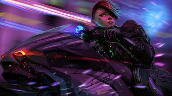 Cyberpunk, Anime, Biker, Girl, Motorcyle, Sci-Fi, 4K, #122