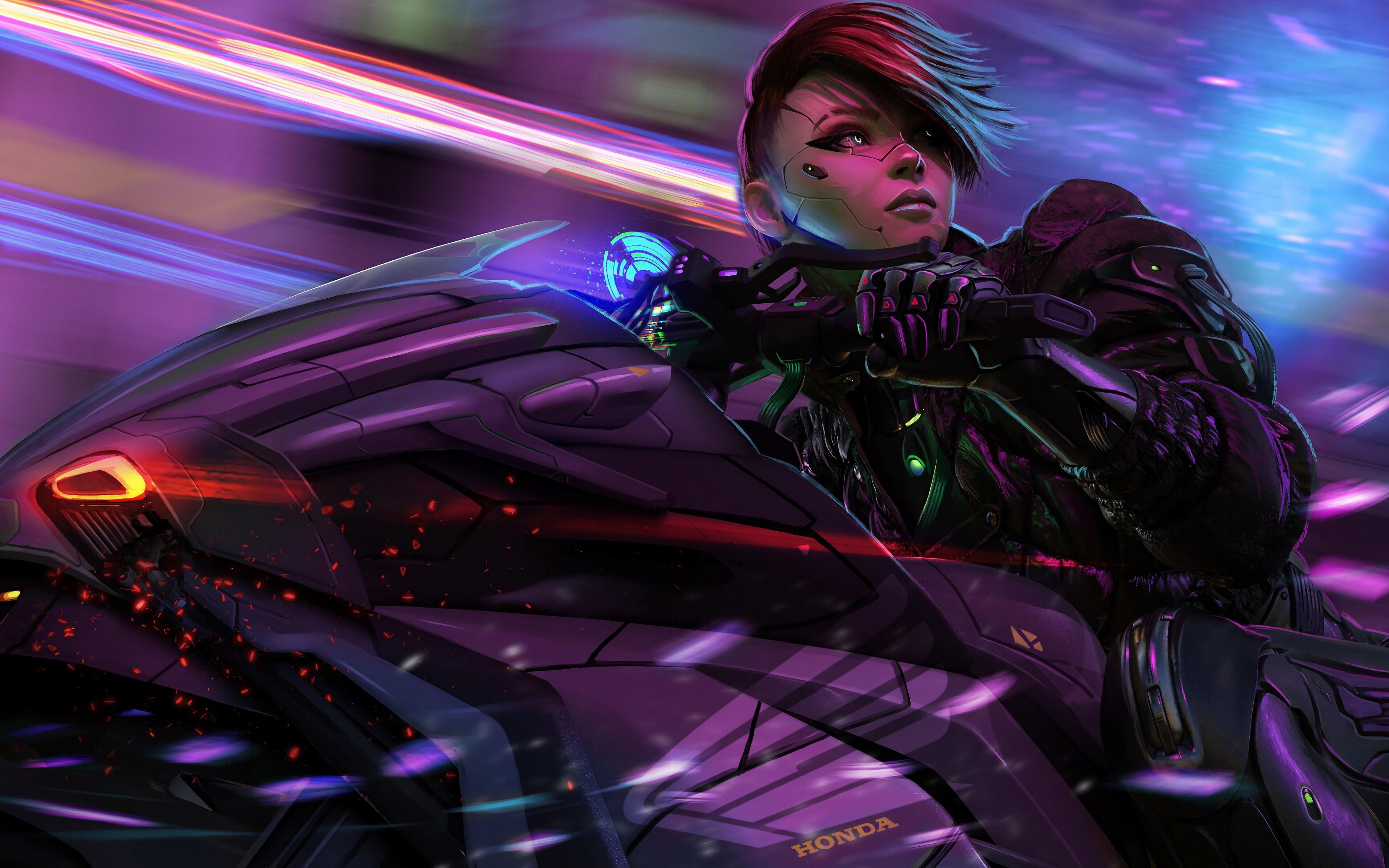 Cyberpunk Anime Biker Girl Motorcycle Sci Fi 4k Wallpaper 122