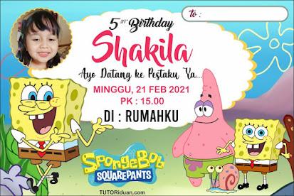 Desain Undangan Ultah Kartun Spongebob CDR
