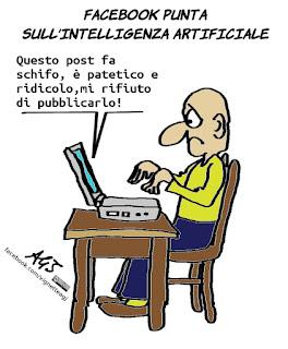 facebook, social network, intelligenza artificiale, umorismo, satira, vignetta