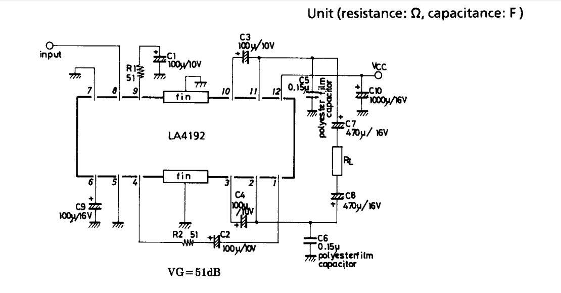 LA4192 bridge amplifier 5W circuit diagram