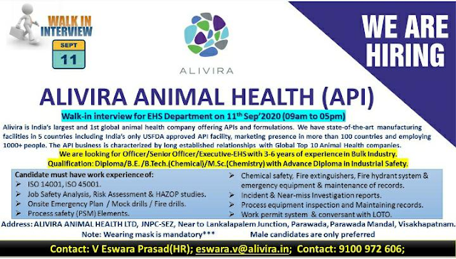 Alivira Animal Health | Walk-in interview for EHS & ETP on 11 Sept 2020 at Visakhapatnam