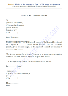 notice of board meeting companies act 2013 sample