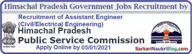 Himachal PSC Assistant Engineer Recruitment 2020-21