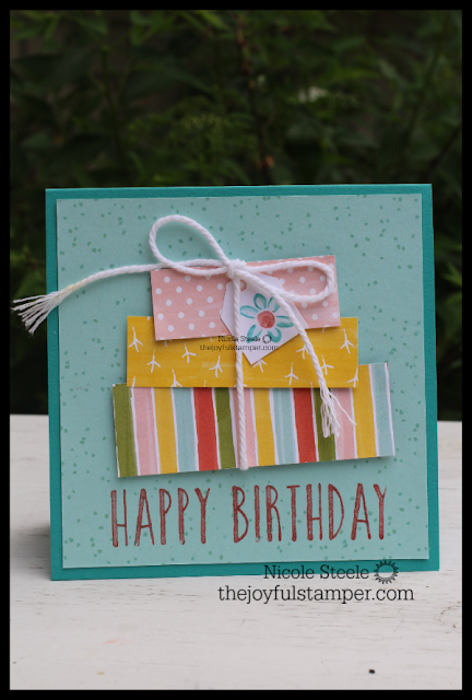 Birthday card using DSP scraps by Nicole Steele, The Joyful Stamper