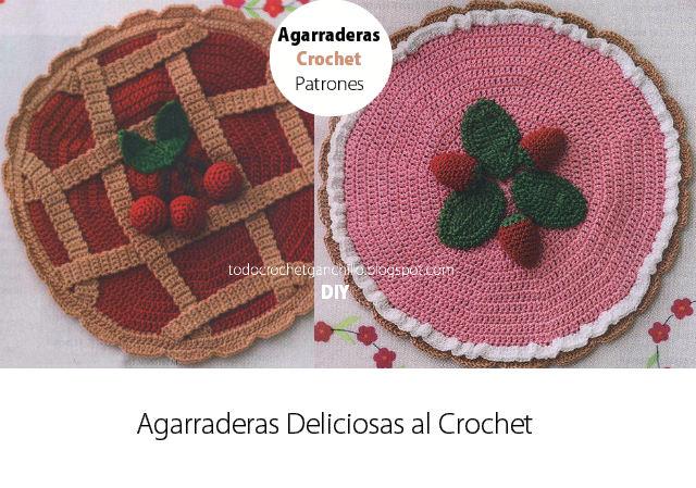 agarradera con forma de pasta frola para tejer al crochet