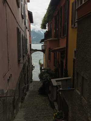 Typical alley of Varenna leading to the water