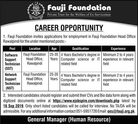 Advertisement for Fauji Foundation Jobs September 2019