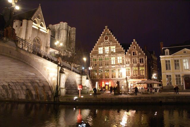 Ghent waterfront at night