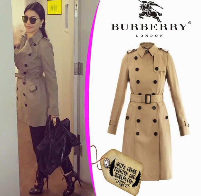 6a76e5a90bb57 Haifa Wehbe Wearing Beige Burberry Women Trench Coat