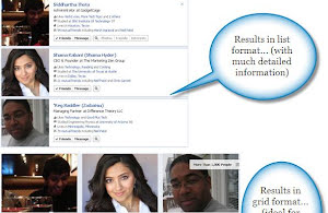 Facebook graph search result format - Grid and List view