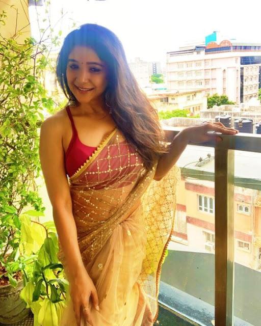 Actress Sakshi Agarwal Half Saree Navel Show Photos Navel Queens