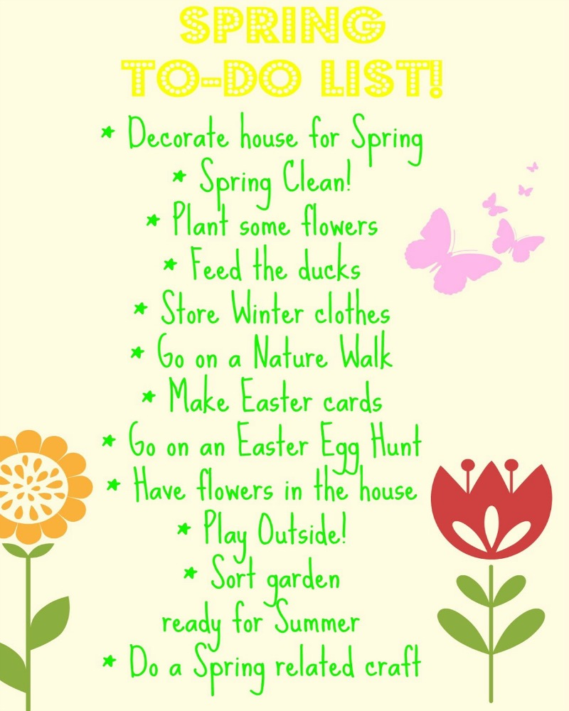Spring to do list, spring bucket list. I think after a while, Winter does get a bit tedious. You're fed up of being cold, too cold to go out, don't wanna get up in the morning. Then Spring comes along, all happy & chirpy, sunshine & flowers. Much better.